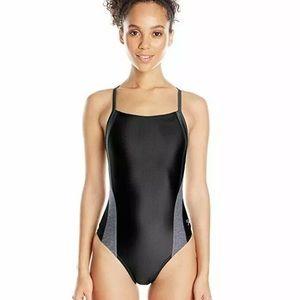 speedo black and grey one piece swimsuit